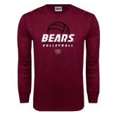 Maroon Long Sleeve T Shirt-Bears Volleyball Stacked