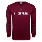 Maroon Long Sleeve T Shirt-Volleyball w/ Ball