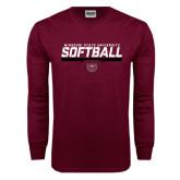 Maroon Long Sleeve T Shirt-Missouri State University Volleyball Stencil