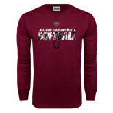 Maroon Long Sleeve T Shirt-Softball Distressed Texture