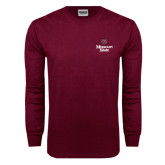 Maroon Long Sleeve T Shirt-Bear Head Missouri State Stacked