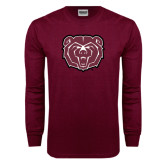 Maroon Long Sleeve T Shirt-Bear Head