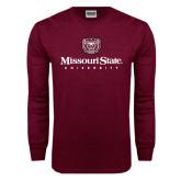 Maroon Long Sleeve T Shirt-Missouri State University Stacked w/ Bear Head