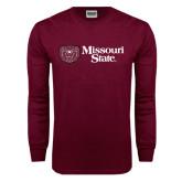 Maroon Long Sleeve T Shirt-Horizontal Missouri State w/ Bear Head