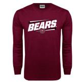 Maroon Long Sleeve T Shirt-Slanted Bears w/ Bear Head