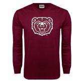 Maroon Long Sleeve T Shirt-Bear Head Distressed