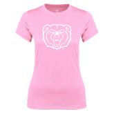 Ladies Performance Light Pink Tee-Bear Head