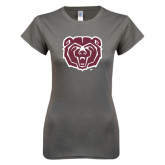 Ladies SoftStyle Junior Fitted Charcoal Tee-Bear Head