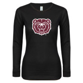 Ladies Black Long Sleeve V Neck T Shirt-Bear Head