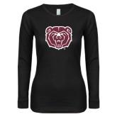 Ladies Black Long Sleeve V Neck T Shirt-Bear Head
