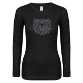 Ladies Black Long Sleeve V Neck T Shirt-Bear Head Graphite Glitter