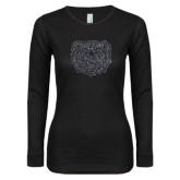 Ladies Black Long Sleeve V Neck T Shirt-Bear Head Graphite Glitter