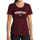 Ladies Performance Maroon Tee-Missouri State Basketball Arched w/ Ball