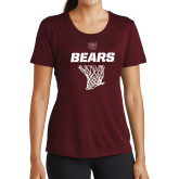 Ladies Performance Maroon Tee-Bears Basketball Hanging Net