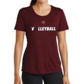 Ladies Performance Maroon Tee-Volleyball w/ Ball