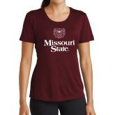 Ladies Performance Maroon Tee-Bear Head Missouri State Stacked