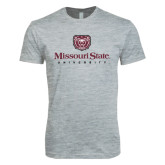 Next Level SoftStyle Heather Grey T Shirt-Missouri State University Stacked w/ Bear Head