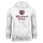 White Fleece Hoodie-Bear Head Missouri State Stacked