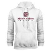 White Fleece Hoodie-Missouri State University Stacked w/ Bear Head