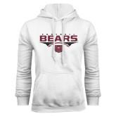 White Fleece Hoodie-Bears Football Stacked