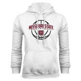 White Fleece Hoodie-Missouri State Basketball Arched w/ Ball