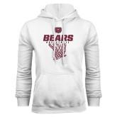 White Fleece Hoodie-Bears Basketball Hanging Net