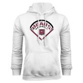 White Fleece Hoodie-Bears Baseball Arched in Diamond