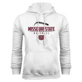 White Fleece Hoodie-Missouri State Baseball Stacked