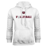 White Fleece Hoodie-Volleyball w/ Ball