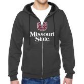 Charcoal Fleece Full Zip Hoodie-Bear Head Missouri State Stacked