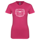 Ladies SoftStyle Junior Fitted Fuchsia Tee-Bear Head