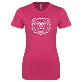 Ladies SoftStyle Junior Fitted Fuchsia Tee-Bear Head