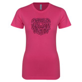 Ladies SoftStyle Junior Fitted Fuchsia Tee-Bear Head Hot Pink Glitter