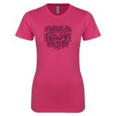 Ladies SoftStyle Junior Fitted Fuchsia Tee-Bear Head Hot Pink Glitter