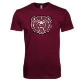 Next Level SoftStyle Maroon T Shirt-Bear Head