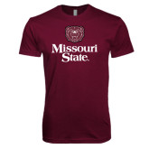 Next Level SoftStyle Maroon T Shirt-Bear Head Missouri State Stacked