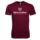 Next Level SoftStyle Maroon T Shirt-Missouri State University Stacked w/ Bear Head