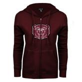 ENZA Ladies Maroon Fleece Full Zip Hoodie-Bear Head