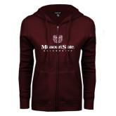 ENZA Ladies Maroon Fleece Full Zip Hoodie-Missouri State University Stacked w/ Bear Head