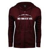 ENZA Ladies Maroon Fleece Full Zip Hoodie-Missouri State Football w/ Ball