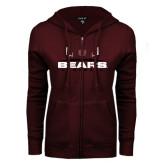 ENZA Ladies Maroon Fleece Full Zip Hoodie-Bears Football w/ Field