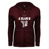 ENZA Ladies Maroon Fleece Full Zip Hoodie-Bears Basketball Hanging Net