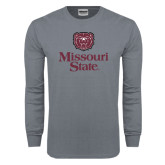 Charcoal Long Sleeve T Shirt-Bear Head Missouri State Stacked
