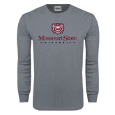 Charcoal Long Sleeve T Shirt-Missouri State University Stacked w/ Bear Head