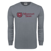 Charcoal Long Sleeve T Shirt-Horizontal Missouri State w/ Bear Head