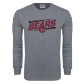 Charcoal Long Sleeve T Shirt-Slanted Bears w/ Bear Head