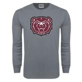 Charcoal Long Sleeve T Shirt-Bear Head Distressed