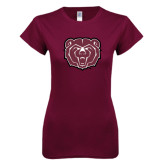 Next Level Ladies SoftStyle Junior Fitted Maroon Tee-Bear Head