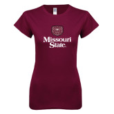 Next Level Ladies SoftStyle Junior Fitted Maroon Tee-Bear Head Missouri State Stacked