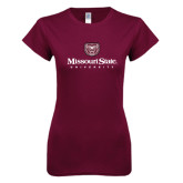 Next Level Ladies SoftStyle Junior Fitted Maroon Tee-Missouri State University Stacked w/ Bear Head
